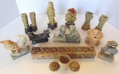 Collection Of 19 Soap Stone Vases, Animals, Monk, Etc.