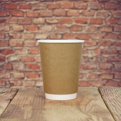 12 oz Paper Coffee Cups - Kraft Double Wall Hot Drink Disposable Cups