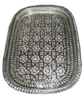 Moroccan Serving Tray Silver Tea Tray  From Fez*NEW*