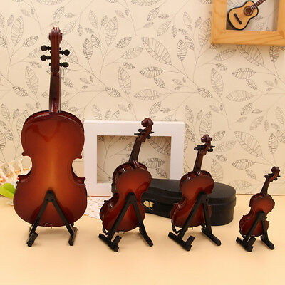 Student Vintage Wooden Violin Miniature Musical Instrument with Support Case+bow