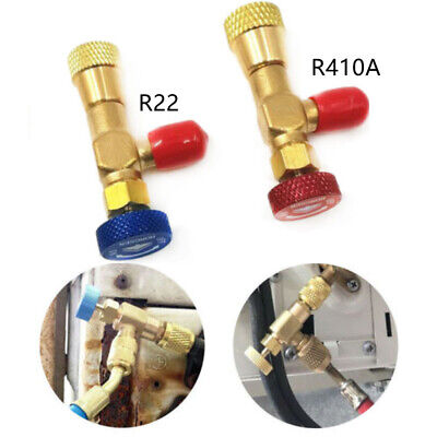 "2pcs R22 R410A Refrigeration Charging Adapter For 1/4"" Safety Valve Service"