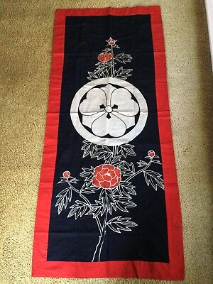 "Antique Heavy Cotton Wall Hanging Japanese Crest & Flowers 28""x66"" Old Beautiful"
