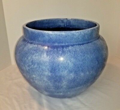 Vintage Large Blue Glazed Jardinière Pot Flower Planter Vase