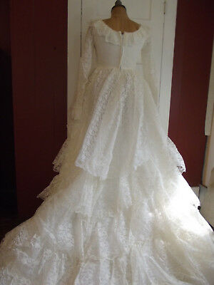 VTG '50s/'60s Lace Wedding Gown Tiered Ruffled Skirt Grace Kelly Inspired XS/S
