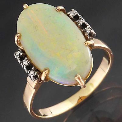 Vintage Precious White OPAL & 6 DIAMOND 9k Solid ROSE GOLD DINNER RING Lg Sz S