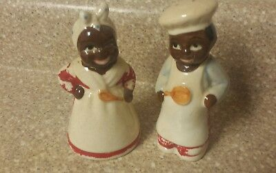 Antique Black Americana Mammy And Chef Salt & Pepper Shakers-