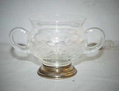 Delicate Vintage Etched Crystal Glass Sterling Silver 925 Sugar Bowl