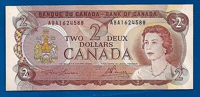 1974 CANADA two 2 DOLLAR BILL NOTE prefix ABA CRISP UNC