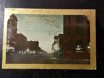 1910 Post Card from Grand Forks, ND - Third Street Looking North
