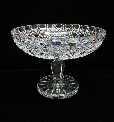 Heavy Hand Cut German Crystal Pedestal Compote / Candy Dish Bowl