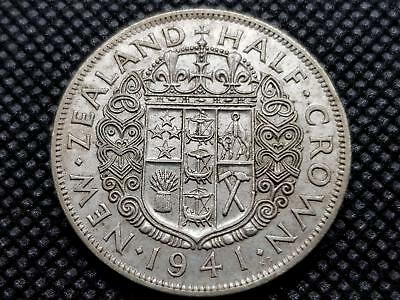 New Zealand Half Crown 1941 Silver Coin King George Sixth Kgvi Coin