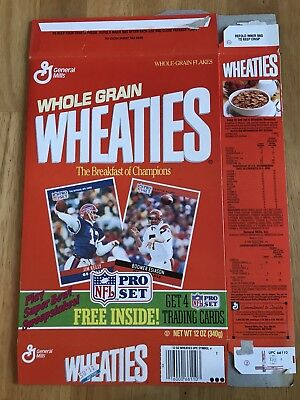 1989 Wheaties Empty 12 oz Cereal Box w/ Pro Set Football Card Promo (no cards)