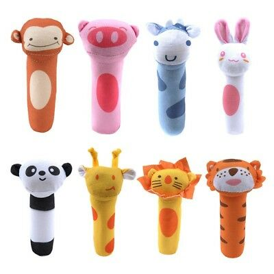 Cute Infant Baby Animal Cartoon Hand Bell Ring Rattles Kids Plush Soft Toys New