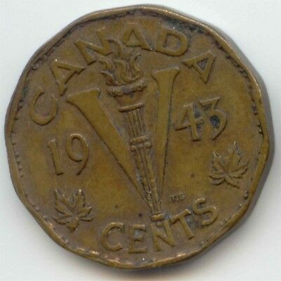 Canada 1943 Tombac Victory Nickel Canadian Five Cents 5c Piece *EXACT* COIN
