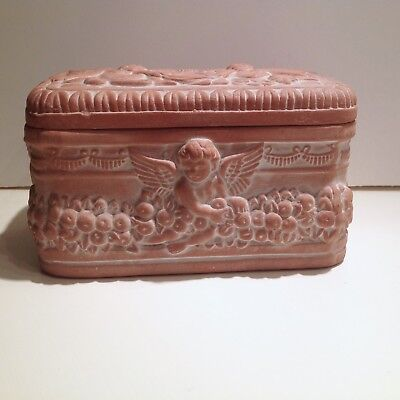 Vintage Terra Cotta Cherub Angel Trinket Box
