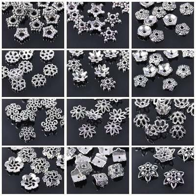50pcs Tibetan Silver Flower Metal Loose Spacer Beads Caps for DIY Jewelry Making