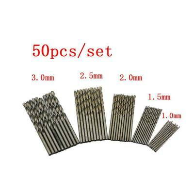 50Pcs 1-3mm High Speed Steel Straight Shank Silver Twist Drill Bits Drilling Set