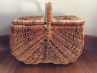 Wicker Cane Picnic Basket with 50 Piece Plastic Dinner Set