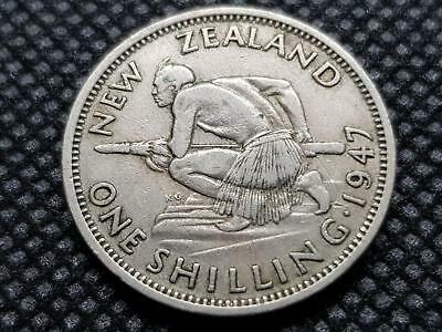 New Zealand 1 Shilling 1947 Kgvii Coin King George Sixth Maori Warrior Coin