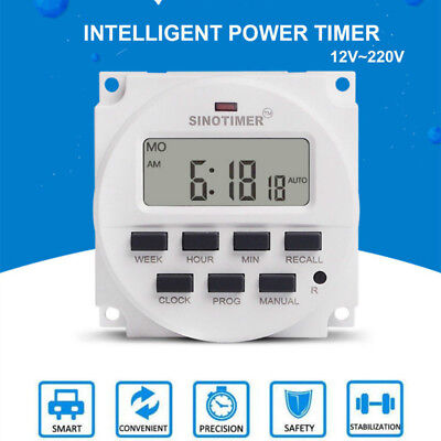 DC12V-220V 16A Digital LCD Power Programmable Timer Time Switch Relay 16 on/off