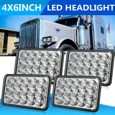 "4pcs DOT 4x6"" Led Headlights Headlamps Fits Peterbilt Kenworth H4651 H4652 H4666"