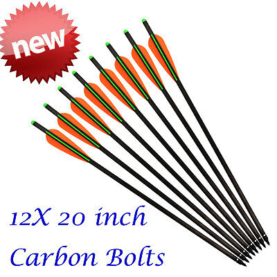 12X 20in Carbon Arrows Crossbow Bolts Moon Nock Archery Outdoor Target Hunting