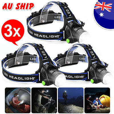 3X 35000LM LED Headlamp Rechargeable Headlight CREE XML T6 Head Torch light lamp