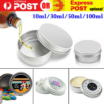 50ml Aluminum Empty Cosmetic Pot Lip Balm Jar Tin Container Silver Containers