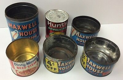 6 Old Metal Empty Kitchen Cans Maxwell House Dinty Moore Hunt's Decoration