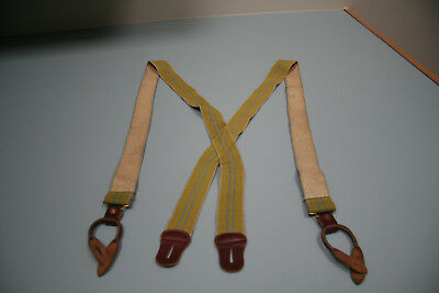 Vintage Police Braces/suspenders- Stretch Green Elastic, Leather Button Loops, B
