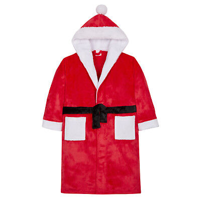 Kids Father Christmas Novelty Dressing Gown Boys Girls Santa Hooded Bath Robe