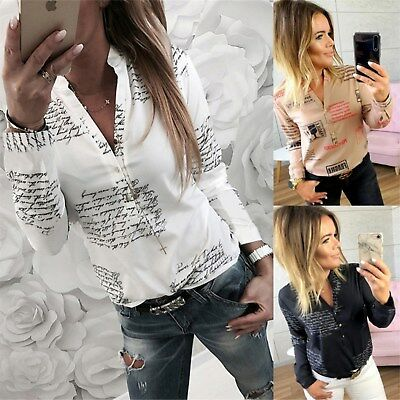 UK Womens Button Neck Letter Print T-Shirt Ladies Casual Long Sleeve Tops Blouse