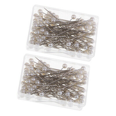 200Pcs Dressmaking Wedding Faux Pearl Sewing Pins Decorating Crafts With Box
