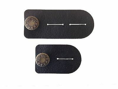 Waist Extender Set of 2 for Men or Women (Black) with Bronze Button for Jeans