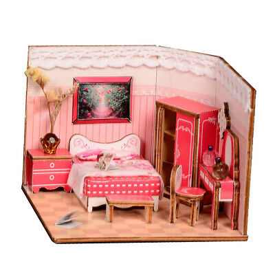 Dollhouse Kit DIY Miniature Wood Handmade House Furnished Girl Bedroom Gifts