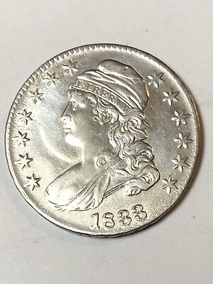 Rare 1833 Capped Bust Choice Silver Half Dollar Coin; A Beautiful Coin