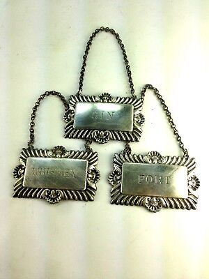 VINTAGE PLATO ENGLAND Three Silverplate DECANTER LABELS Tags Whiskey,Gin, Port