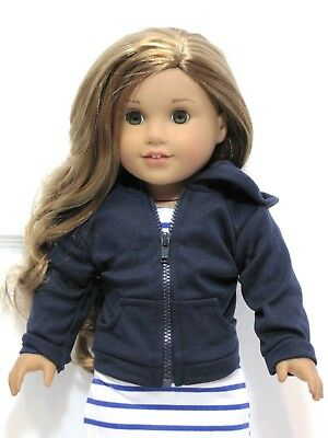 "Doll Clothes Navy Blue Hoodie Jacket For 18"" American Girl or Boy"