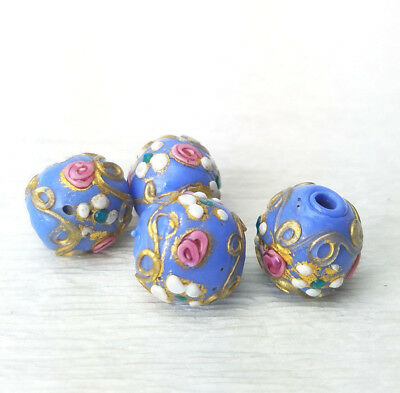 Antique Venetian Opaque Periwinkle Blue Wedding Cake Glass Beads 12mm Round 2pc