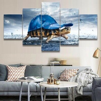 5 Picture Abstract Sea Turtles Hat Rain Painting Print On Canvas Wall Art Decor