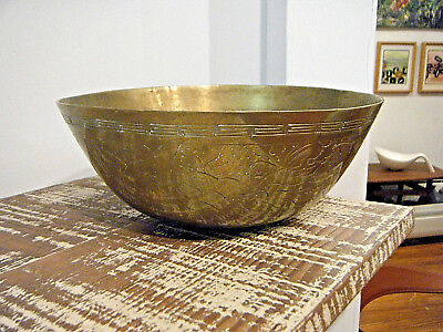 "ANTIQUE CHINESE 19TH c SOLID BRASS 10"" BOWL WITH IMPRESSED MARK / ENGRAVED SIDES"