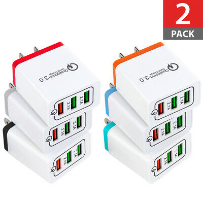 2-PACK 30W 3-Port USB Wall Charger Dual Quick Charge 3.0 Port For iPhone Samsung
