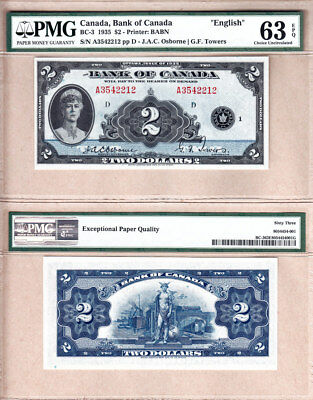 PMG CHOICE UNC63 EPQ BC-3 1935 $2 Bank of Canada English Variety with Queen Mary