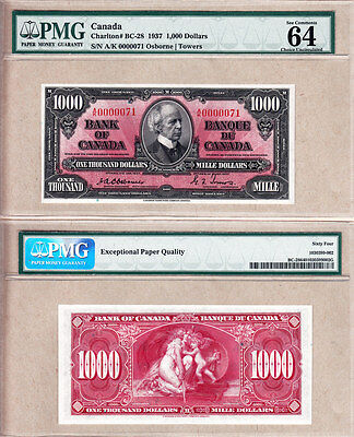Low Serial# 0000071 1937 $1000 Bank of Canada Osborne PMG CHOICE UNC64 EPQ