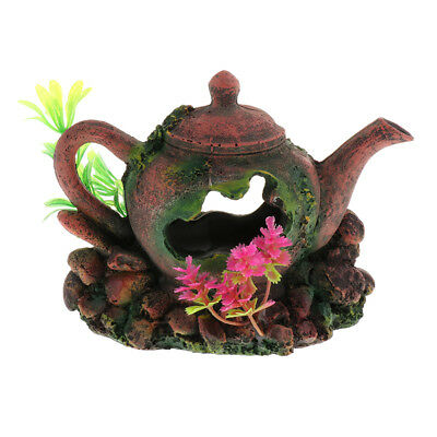 Antique Teapot Vivarium Reptile Lizard Hide House Aquarium Fish Tank Cave