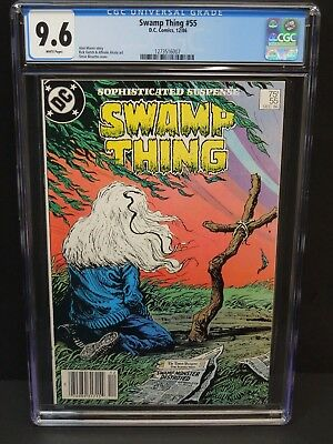 Dc Comics Swamp Thing #55 1986 Cgc 9.6 Wphite Pages Newsstand Upc