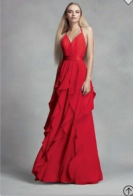bf5e283a855f Vera Wang Red Chiffon Bridesmaid Dress with Cascading Skirt