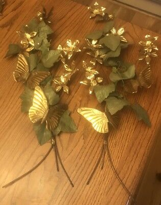 2 Vintage Homco Gold Brass Metal Butterflies and Flowers Wall W VINES Swags
