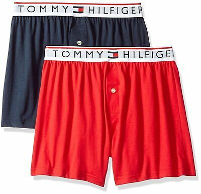 19c661bc8aed $59 Tommy Hilfiger Underwear Men Blue Red Cotton Slim Knit Boxers 2-Pack  Size S
