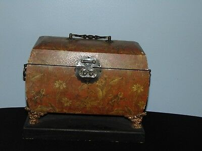 Vintage Asian Large Solid Wood Decorative Box With Brass Feet And Wood Base